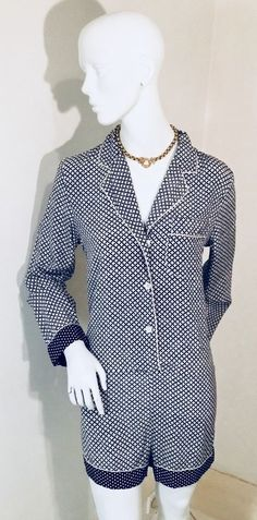 "c8e2beff77c Contrast Navy and White Polka Dot Cuffs on Sleeves and Shorts. ""Life is too  short for fast fashion!"
