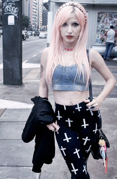 Pastel Goth Outfit idea: Cross Leggings with Headspikes and pink hair dye - http://ninjacosmico.com/12-ways-rock-pastel-goth-leggings/
