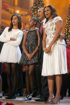 Michelle Obama was appropriately festive for the holidays in this bedazzled white J Mendel dress at TNT's Christmas In Washington event on December 15, 2013 in Washington, D.C.