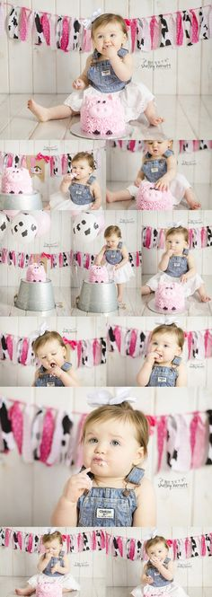 Shelley Barrett Photography || One Year Old || Charley || Cake Smash Photographer || Happy Birthday, First Birthday, One, One Year Old Baby Girl || Birmingham, Hoover, Chelsea, Shelby County, Pelham, Helena, Alabaster, Alabama || Pink Farm Animals, Pig and Cow Party