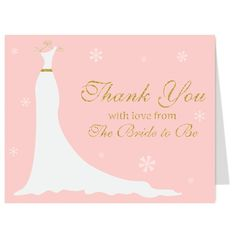 Winter Gown Blush and Gold Thank You Card. This card features a Pink blush background with gold script letters and a pretty white wedding dress on a hanger. Plus, snowflakes that make this perfect for a Winter event. - via www.theinvitelady...