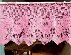 Aliexpress.com : Buy 40x120 CM Lovely pink curtain handmade crochet curtain New Arrival ~ FREE SHIPPING from Reliable curtain suppliers on Handmade Shop $29.80