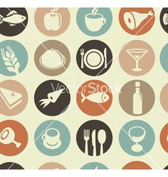Seamless pattern with restaurant and food vector on VectorStock®