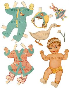 Golden Baby Vintage Paper Doll - Retro 40s Paper Doll - Digital Download Ephemera - Retro Baby - New Baby - Party Favor - DIY Baby Shower Craft  Vintage paper doll 1946 Whitman baby doll from Book #961 Printable Digital Download  Baby Janiene, the sweet cherub has a wears a wreath of daisies on her blonde head. She has sweet peach and green dresses and jumpers. A baby duck, little kitty, chickie, bunny and flowers.  INSTANT DOWNLOAD: 2 approx 8.5 X 11 Sheets. Baby is 6.25 inches A bit about…