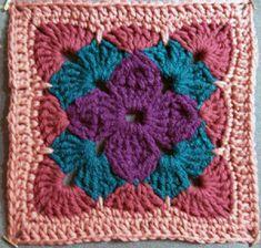 Crochet Granny Square Afghan, Crochet Blocks, Granny Square Crochet Pattern, Afghan Crochet Patterns, Crochet Chart, Crochet Squares, Crochet Motif, Crochet Designs, Knitting Patterns