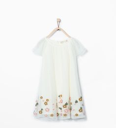 Image 1 of Embroidered flowers tulle dress from Zara Zara Dresses, Girls Dresses, Flower Girl Dresses, Summer Dresses, Tulle Dress, Boho Dress, Little Girl Closet, Vestidos Zara, Little Fashionista