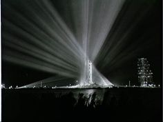 Spotlights shine on the Saturn V rocket carrying Apollo 9 prior to its launch from the Kennedy Space Center on March 3, 1969.