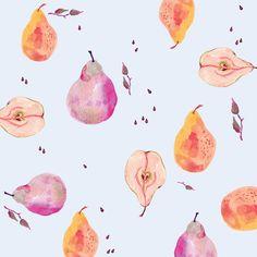 Pear Pattern Art Print by Miji Lee Pretty Patterns, Color Patterns, Textile Patterns, Textiles, Image Deco, Poster Art, Fruit Pattern, Design Graphique, Pattern Illustration