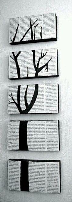 Un original cuadro con tapas de cajas de zapato y forradas con papel diario