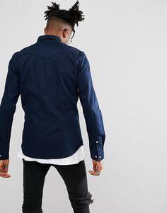 ASOS Skinny Denim Western Shirt In Navy - Navy