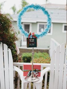 A hoop provided direction for paper airplanes and a fun party game.