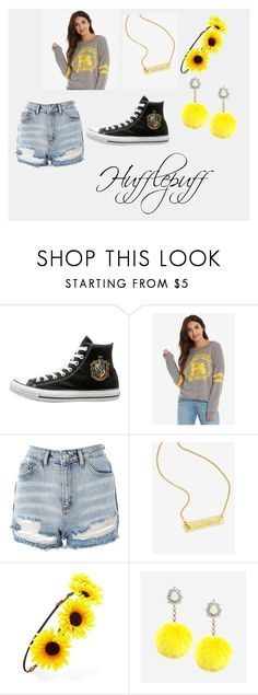 """Hufflepuff pride"" by stonecldfxlol on Polyvore featuring Warner Bros., Topshop, Forever 21 and Rock 'N Rose"