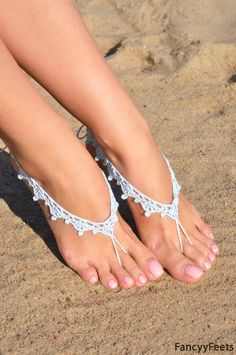 Crochet Light Blue Barefoot Sandals Nude shoes Foot by FancyyFeets