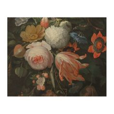 Abraham Mignon - A Hanging Bouquet Of Flowers Prob Wood Print - retro gifts style cyo diy special idea