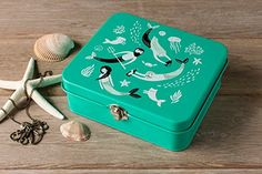 The Danica Studio Sea Spell Keepsake Box is perfect for storing art supplies, photographs, jewelry, and travel memorabilia. Box Store, Pencil Boxes, Merfolk, Tin Boxes, Keepsake Boxes, Art Supplies, Spelling, Decorative Boxes, Photographs