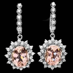 14k Gold 10ct Morganite 1.5ct Diamond Earrings : Lot 281C