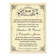 Shop Fairy Tale Storybook Wedding Invitations created by RenImasa. Fairy Tale Story Book, Fairy Tale Theme, Fairy Tales, Monogram Wedding Invitations, Wedding Invitation Design, Illustrated Wedding Invitations, Storybook Wedding, Bridal Shower Cards, Rsvp