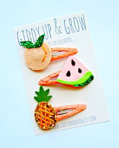 Felt Hair Clips  Summer Fruit Giddy Up and Grow by giddyupandgrow