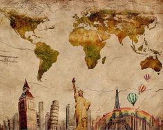 Vintage-World-Map-Retro-Paris-London-Liberty-NYC-Wall-Sticker-20x16-inch-Custom-DIY-Poster-Decor.jpg (1000×800)