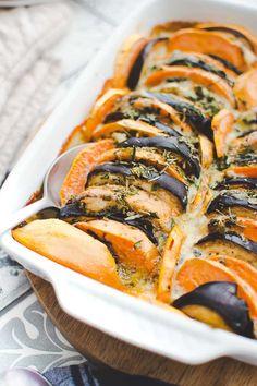 Gratin de patate douce, aubergine et gorgonzola Veggie Recipes, Salad Recipes, Vegetarian Recipes, Snack Recipes, Healthy Recipes, Casserole Recipes, Crockpot Recipes, Easy Smoothie Recipes, Banana Bread Recipes