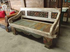 Bali Furniture Hand Carved Recycled Teak Bench Seat Daybed Antique White Finish on eBay!