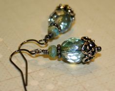 Prairie Green and Malibu Bits picasso czech glass earring, bridesmaid earrings, Blue green earrings