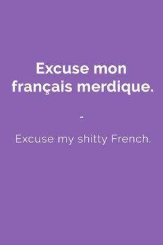 Excuse mon français merdique. - Excuse my shitty French. Find more Slang (with Audio!) in my book: ''Colloquial French'' - The most complete French Slang Ebook available. Learn more here: https://store.talkinfrench.com/product/french-slang-ebook/ Don't hesitate to share #french #slang #words #learnfrenchfast #frenchlessons