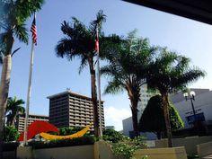 Centro de Bellas Artes, Santurce 8:32 a.m. domingo,  27 de octubre de 2013. Aquí se pueden observar que ambas banderas estan izadas en el fin de semana cuando en el artículo 5 sección A del código de banderas de Puerto Rico se establece que las mismas deben estar izadas durante dias laborables. Se esta cumpliendo el reglamento referente a la ubicación de las mismas, ya que, la de Estados Unidos esta a la derecha de la de Puerto Rico y no hay ninguna a la derecha de esta. Ambas banderas se…
