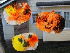Pumpkins, made with melted crayons