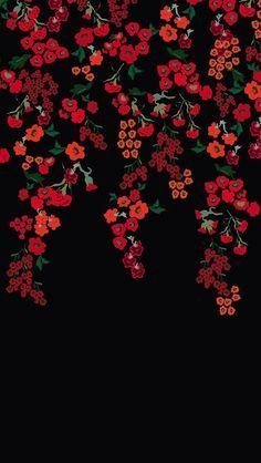 Fundo preto com flores vermelhas