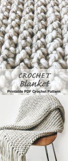 Crochet Afghans, Chunky Crochet Blanket Pattern Free, Modern Crochet Blanket, Striped Crochet Blanket, Crochet Stitches For Blankets, Afghan Crochet Patterns, Crochet Throws, Modern Crochet Patterns, Chunky Blanket