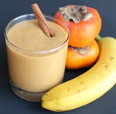 Sweet, Creamy,Persimmon Smoothie! Healthy Dessert Smoothies, Dairy Free, Cinnamon, Healthy Recipes, Fruit, Ethnic Recipes, Sweet, Desserts, Food