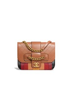 33a852083fe5 Flap Bag, calfskin, python & gold-tone metal, brown & multicolor - CHANEL