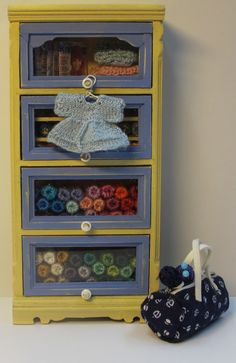 Wool armoire in 1 inch scale by Mini2Love on Etsy, $125.00