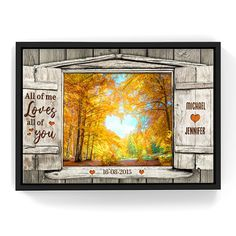 Personalized Fall Couple Window Canvas Wall Art