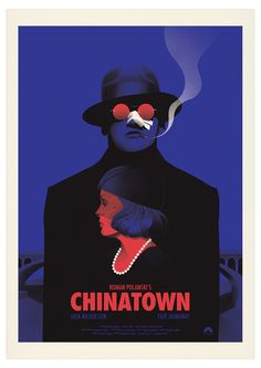 Movie poster for Polanski's Chinatown with Jack Nicholson and Faye Dunaway