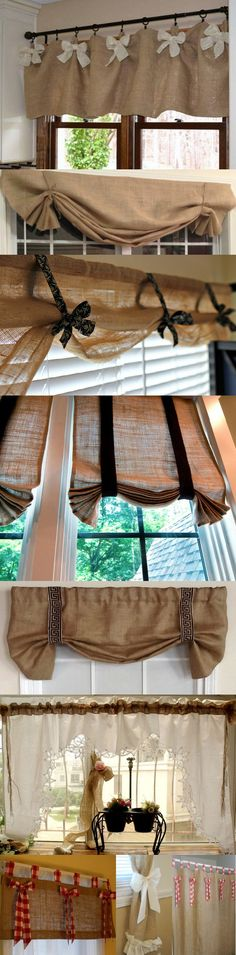BURLAP & BOWS! DIY your own curtains inexpensively by using burlap and adding bows or trim! The burlap gives a rustic texture and some privacy, while letting in the light. If you need more privacy or less light, sew a liner on them! Whether it's valances or drapes, these are sure to give your room design and style!