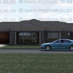 This Tuscan designed Single Storey 3 Bedroom House Plan Boasting Full Master Suite Including Walk-In Closet, 2 Standard Bedrooms, Bathroom, Open Plan living area Including Kitchen with Scullery, Double Garage and Covered Patio 6 Bedroom House Plans, Family House Plans, Dream House Plans, House Floor Plans, My Building, Building Plans, Tuscan House Plans, House Plans South Africa, Guest Toilet