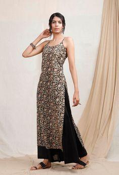 Casual Indian Fashion, Indian Fashion Dresses, Dress Indian Style, Indian Designer Outfits, Indian Outfits Online, Simple Kurti Designs, Kurta Designs Women, Kalamkari Dresses, Kalamkari Kurti