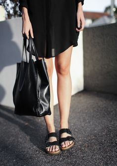 birkenstocks and head to toe black   #saltstudionyc...see @Rosie HW Heydenrych ! They are COMING