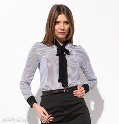 Rose bluzka paski bluzki danell moda praca biuro lato szyfon