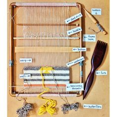 Anatomy of a weaving loom Get acquainted with the art of weaving! Check out this fantastic guide to the anatomy of a weaving loom from Combed Thunder and Mollie Makes. Weaving Textiles, Weaving Art, Weaving Patterns, Tapestry Weaving, Loom Weaving, Hand Weaving, Basket Weaving, Stitch Patterns, Knitting Patterns