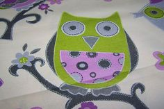 Deko Taschen Stoff Jill Öko-Tex Standard 100 Eule Owls Blume kiwi 1,40 breit