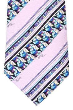 Emilio Pucci Silk Tie Pink Aqua Stripes Designer Ties, Pink Ties, Emilio Pucci, Stripes Design, Men's Collection, Discount Designer, Floral Tie, Aqua, Silk