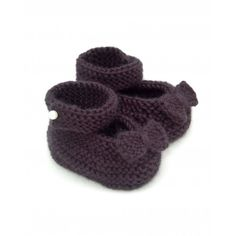 Knitted Baby Booties by Natasha - Black with Pearl and knitted Bow