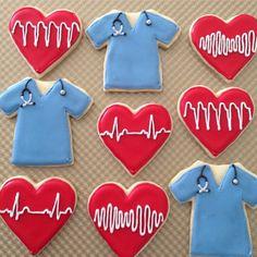 Scrubs and EKG (pqrst waves) cookies #nurse #pa #doctor #graduation #cardiology