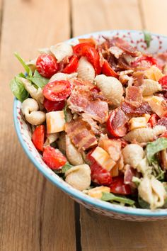 California Club Pasta Salad.  Made with bacon, tomatoes, and cheese- this is the perfect mid-week treat.