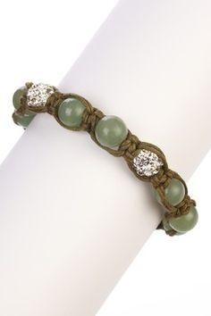 Green & Pave Crystal Beaded Bracelet