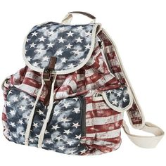 Mossimo Supply Co. American Flag Backpack - Red, White and Blue ($30) found on Polyvore