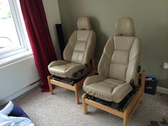 Home made car seat chairs. So comfy